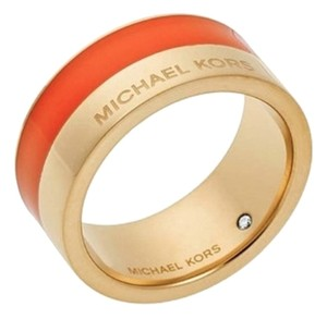 Michael Kors NWT MICHAEL KORS MARITIME COLOR BLOCK BAND RING 8 ORANGE GOLD W BAG MKJ4467