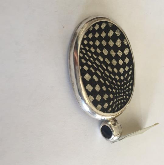 Other Sterling Silver Designer Oval Checker Board Glass Pendant / Necklace
