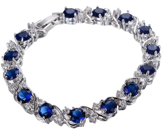 Other Blue Sapphire Bracelet Austrian Crystals Silver plated