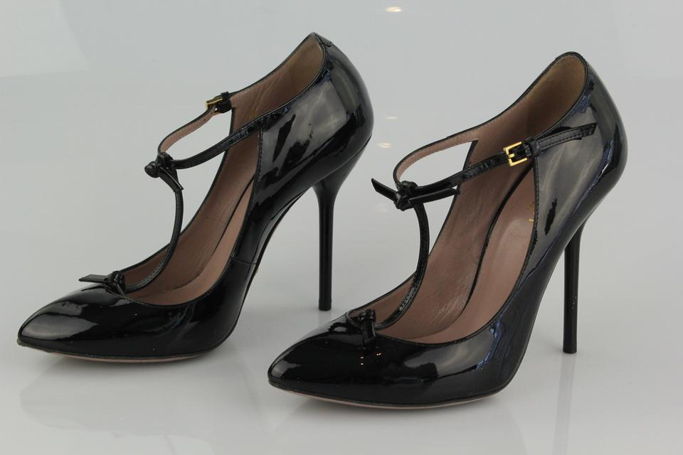 e4b4bd64bfbb Gucci T-strap Pointed Toe Patent Leather Black Pumps Image 7. 12345678