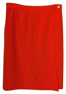 Tory Burch Silk Wrap Skirt red
