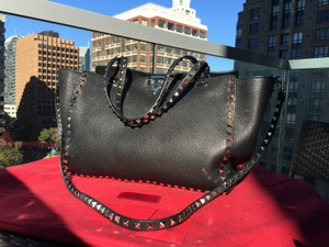 Valentino Leather Pebbled Tote in Black