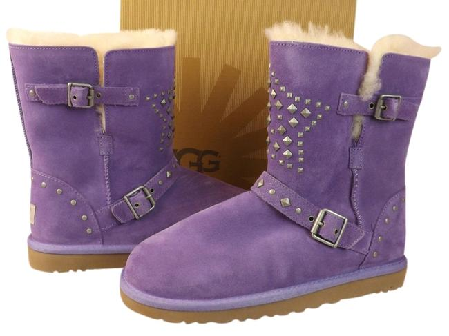 Item - Purple Lavender Suede Star Studded Belted Buckle Shearling Boots/Booties Size US 6 Regular (M, B)
