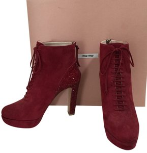 Miu Miu Leather Suede Chanel Hermes Burgundy Boots