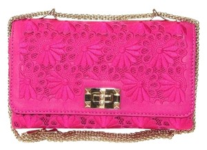 Valentino Pink Leather Clutch Floral Shoulder Bag