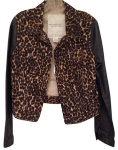 Ralph Lauren Faux Leather Black and natural cheetah print Womens Jean Jacket