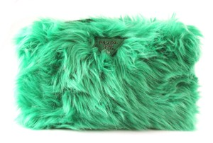 cc106495cd93 Prada Wristlet in Green. Prada Box Ecopelliccia Green Faux Fur Wristlet