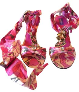 Emilio Pucci Satin Geometric Italian Jeweled Ankle Wrap Signature Print Spring Summer Leather Jeweled Multicolo-Pink Sandals