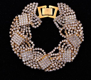 Gorgeous Sparkly Gold Plated Rhinestone Wedding Bracelet