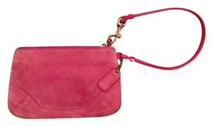 Coach Suede Zipper Small Wristlet in Pink