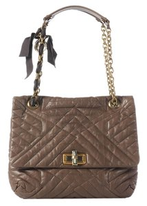 Lanvin Medium Dark Taupe Quilted Ln.j0910.14 Shoulder Bag