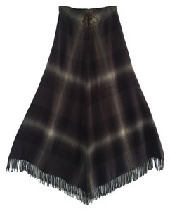 Ralph Lauren Designer Fringed Hem Skirt Browns with cream plaid