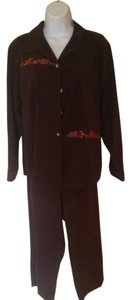 Napa Valley Napa Valley Brown Micro Suede Pant Suit