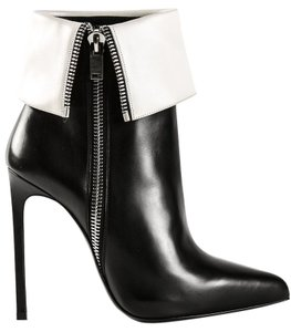 Saint Laurent Leather 100% Heels High 3 1/4 Black/White Boots