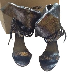 Zadig & Voltaire Black Metallic Sandals