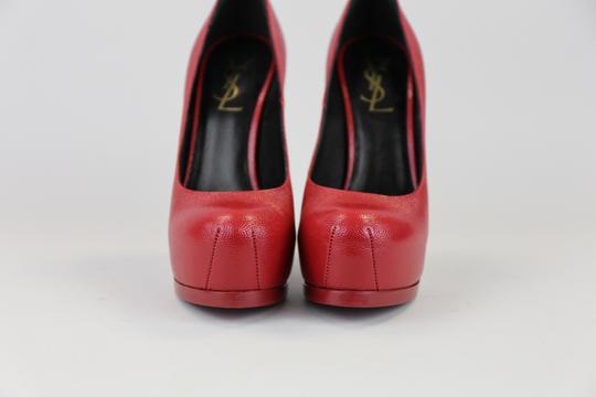 Saint Laurent Patent Leather Stiletto Hidden Platform Platform Red Pumps