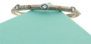 Judith Ripka Judith Ripka Bracelet Bangle Sterling Silver Gold Blue Topaz Diamond