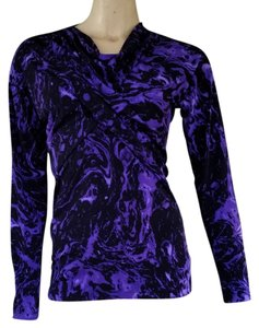 Anne Klein Slinky Black Draped Twisted Neckline Long Sleeves Top Purple