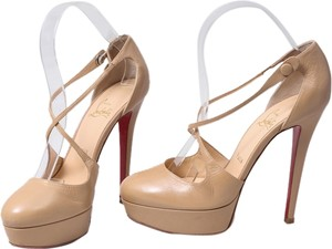 Christian Louboutin Leather Peep Toe Stiletto Ankle Strap Beige Platforms