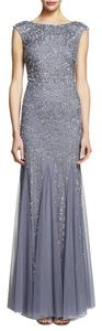 Adrianna Papell Cap Sleeve Beaded Mermaid Formal Gown Dress