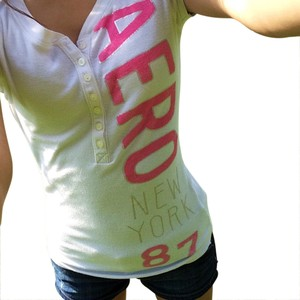 Aeropostale T Shirt White, pink, and silver