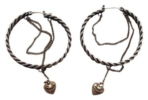 Juicy Couture Twisted Silver Hoop Charm Earrings