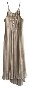 MILLY short dress Taupe Embellished Beaded Halter on Tradesy