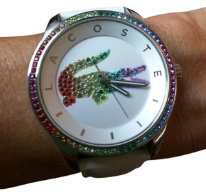 Lacoste Lacoste Victoria Watch - Rainbow Crystal Croc, White Leather Strap
