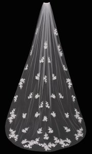 enVogue Bridal White Long Cathedral Lace with Beaded Lace Appliques Bridal Veil