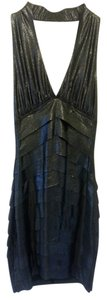 bebe Going-out Sexy Shimmering Layered Mini Party Halter Dress
