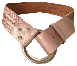 A|X Armani Exchange NEW! Braided Woven Distressed Leather Metallic Pink