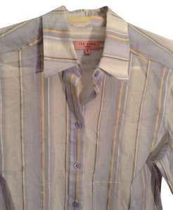 Ted Baker Collared Career Button Down Shirt Pale blue, yellow and brown stripe