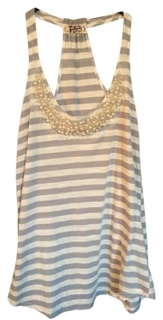 Pathway Beaded Racer-back Cotton Beads Embellished Scoop Neck Summer Top White and gray striped