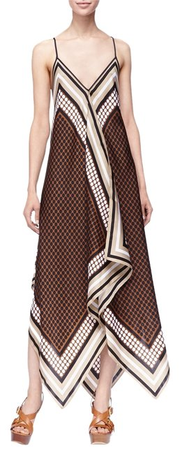 Item - Brown Printed Sleeveless Scarf Long Casual Maxi Dress Size 6 (S)