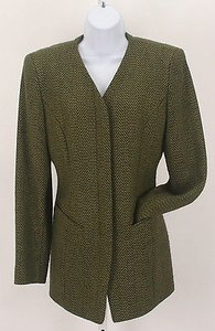 Dana Buchman Dana Buchman Olive Lime Button Up Front Zip Pocket B241