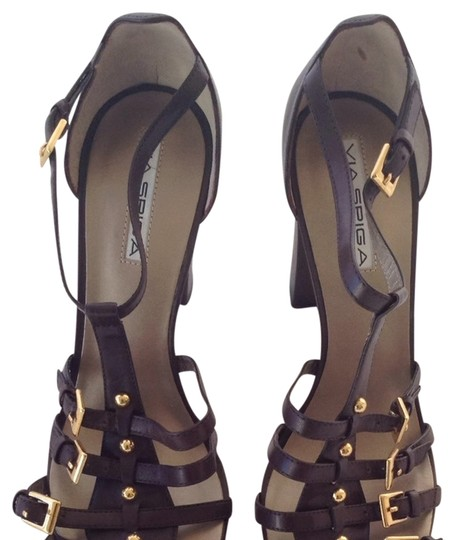 Via Spiga Chocolate Studs Straps Brown Sandals