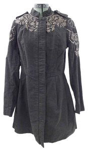 Free People Embroidered Charcoal Jacket