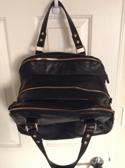 BDG Urban Outfitters Gold Zippers Hobo Carryall Satchel in Black