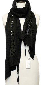 SAACHI Black Mixed-Mesh Long Scarf