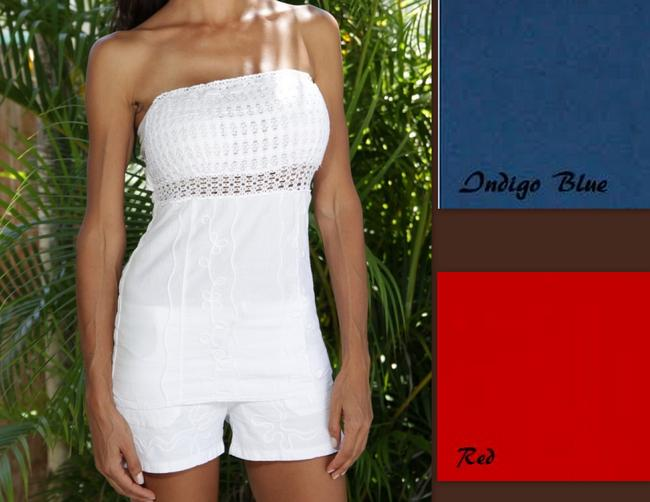 Lirome Embroidered Summer Nautical Chic Sexy Top Red, White