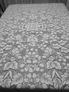 "Bloomingdales White Lace Tablecloth 54""x74"""