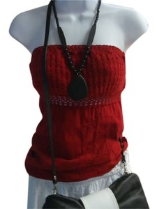 Lirome Embroidered Casual Chic Sexy Summer Top Red