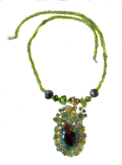 Other Rhinestone Necklace, With real pearls 18