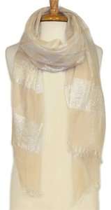 SAACHI Peach & Silver Long Sheer Gauzy Scarf