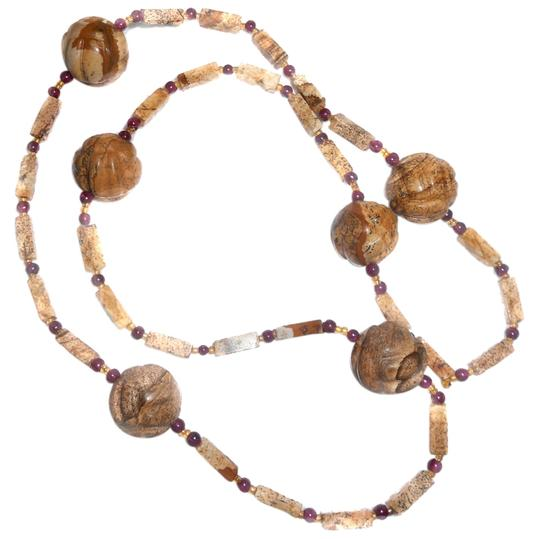 Preload https://item2.tradesy.com/images/browns-and-reds-sand-stone-garnet-30-6-round-beads-over-12-free-shipping-necklace-9652171-0-1.jpg?width=440&height=440