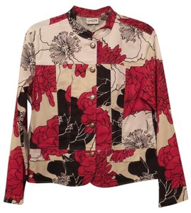 Chico's New Modern Botanical Cotton Blend Mandarin Collar white, red, black and eggshell Jacket