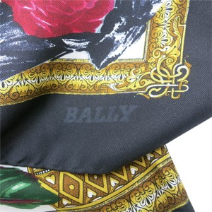 Bally BALLY Scarf Rose flowers Pink Blue Gold SILK