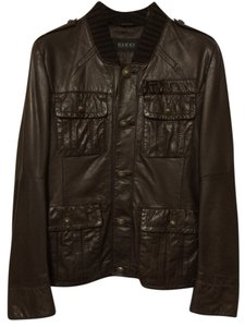 Gucci Leather Smooth Dark Brown Men's Leather Jacket