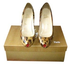 Christian Louboutin Heels Peep Toe Patent Leather Leopard Pumps
