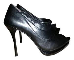 SCHUTZ Peep Toe Leather Stiletto Black Pumps